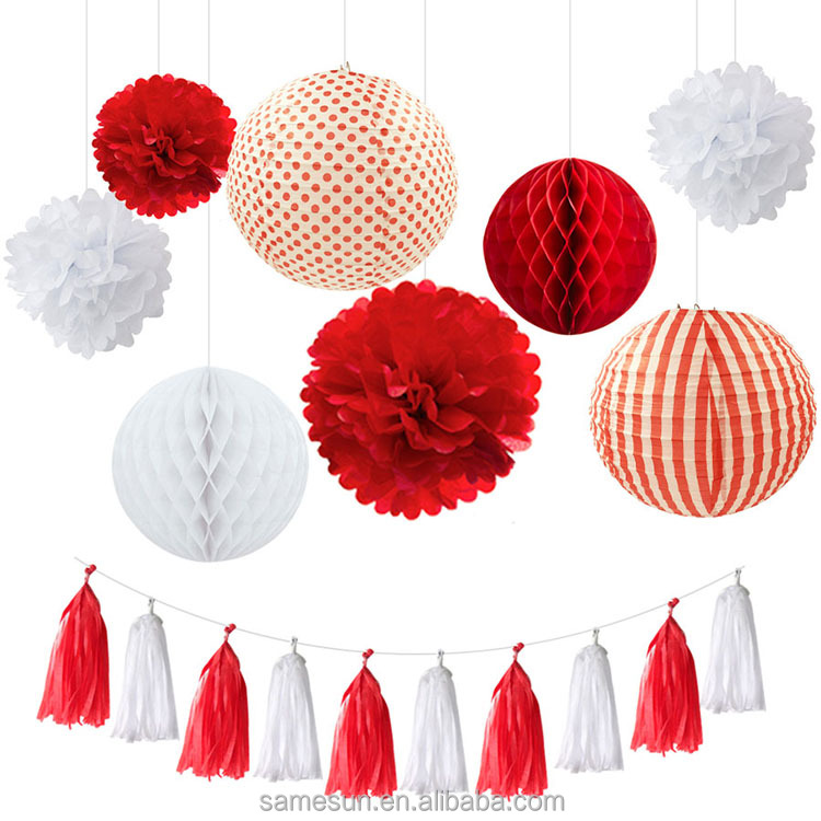 Wedding Party Paper Lantern Paper Honeycomb Ball Pom Poms Tassel Garland Decoration Set