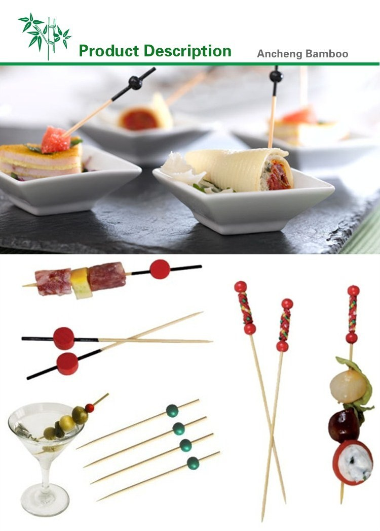 Cocktail bead stirrer food stick picks bamboo wooden ball skewers