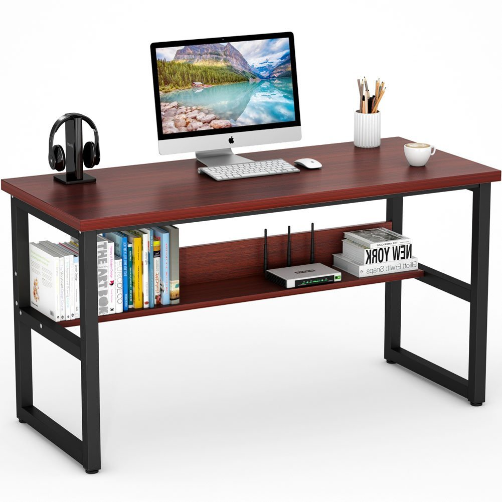 "Tribesigns Computer Desk with Bookshelf, 55"" Simple Morden Style Writing Desk with Heavy-Duty Metal Legs, Super Sturdy Office Desk Study Table Workstation for Home Office(55"" Teak)"