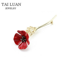 c4799af7bd Men Suit Accessories Vintage Collar Pins for Men Red Poppy Flower Brooch