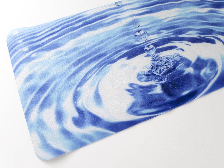 "naturally home Blue Ripple Skid Resistant Printed Vinyl Bath Mat (16"" x 27"")"