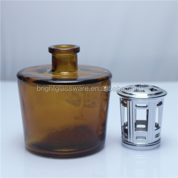 custom colorful reed diffuser bottle with zinc alloy lid, fragrances reed diffusers bottle
