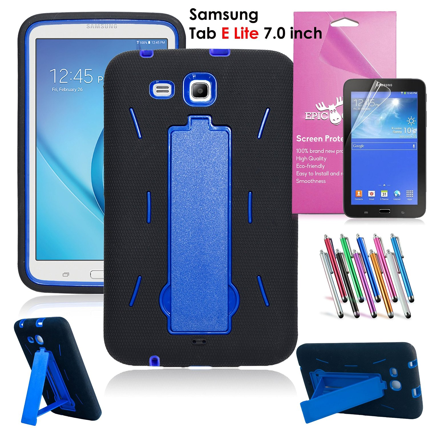Samsung Galaxy Tab E Lite 7.0 Case, EpicGadget(TM) Heavy Duty Rugged Impact Hybrid Case with Build In Kickstand Protection Cover For Galaxy Tab E 7 T113 + Screen Protector + Pen(US Seller)(Black/Blue)