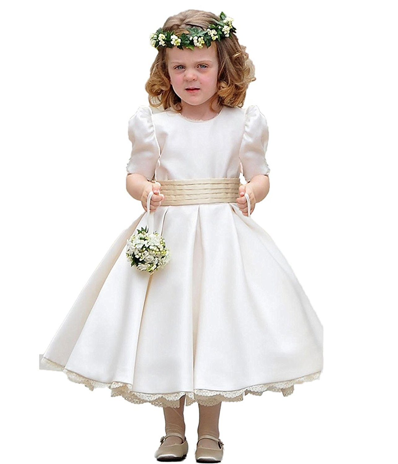 b735cb52ab Get Quotations · JCdress Taffeta Flower Girls  Dress Holy Kids First  Communion Dress Party Daily White Ivory Light