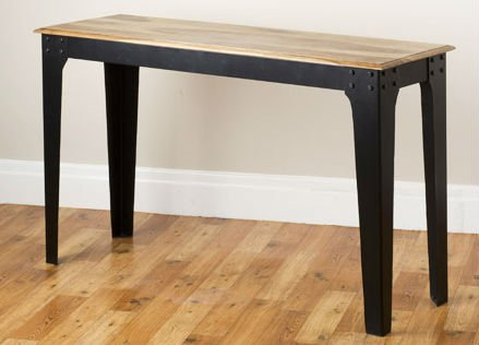 Industrial side table wood top