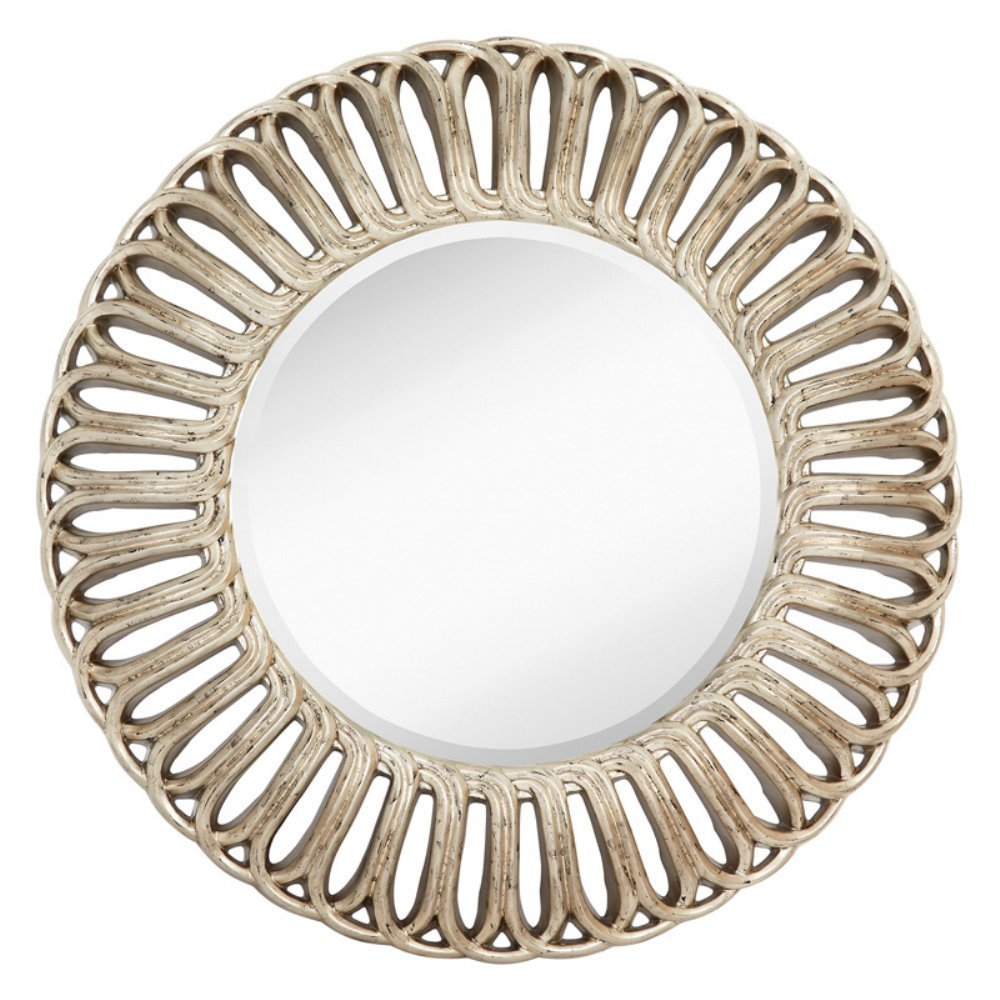 Majestic Mirror Contemporary Leaf Finish Framed Decorative Accent Mirror - 40W x 40H in.