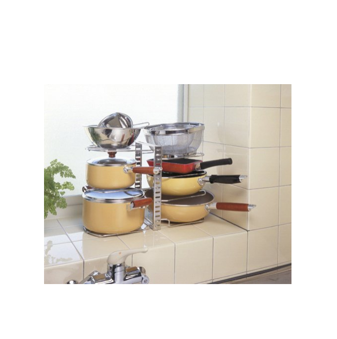 New double-sided kitchen holder pan organizer rack