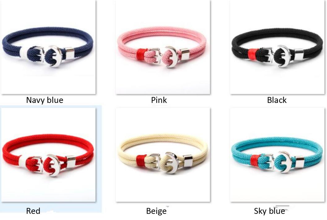 Anchor milan line new design silver anchor bracelet for Male and Female handmade braided bracelets