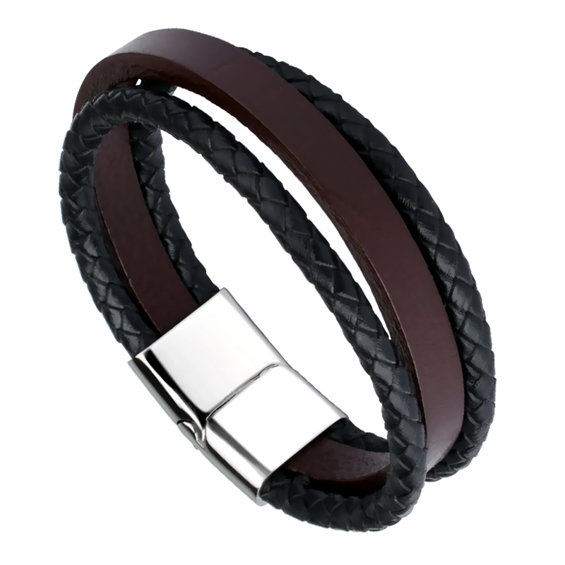 Fashion Multi-Layer Genuine Leather Man Bracelet Casual/Sporty Men Jewelry Black/Brown Color Length 18.5/20.5/22cm Free Shipping