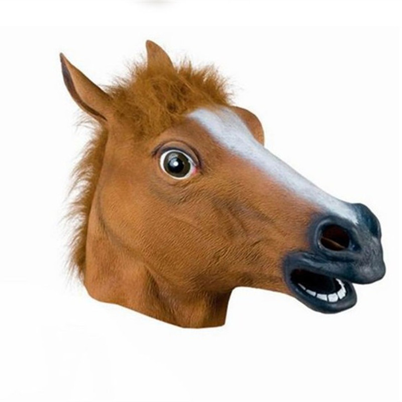Hot Selling Novelty Creepy Horse Mask Head Halloween / Christmas Costume Theater Prop Latex Rubber Halloween  Mask For Men