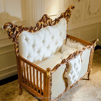 AK38- luxury royal wooden baby crib, european style new born baby bed