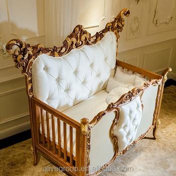 Ak38 Luxury Royal Wooden Baby CribEuropean Style New