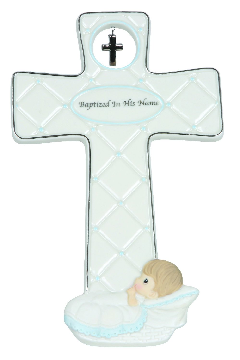"""Precious Moments, Baptism Gifts, """"Baptized In His Name"""", Boy, Bisque Porcelain Cross, #143403"""