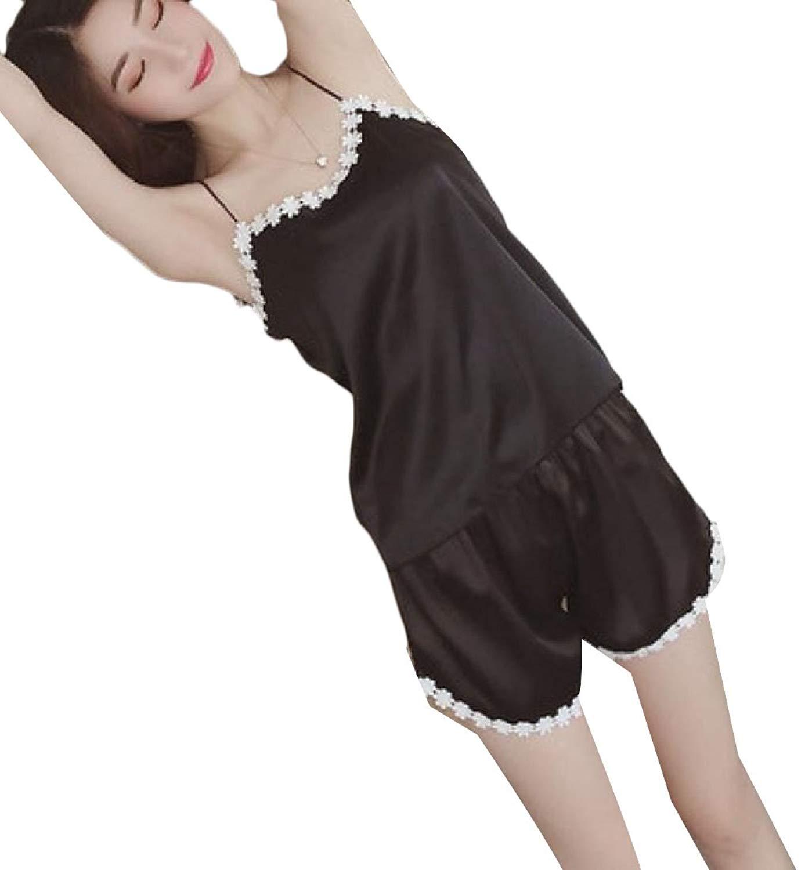f85d6402d4d Get Quotations · BSTBUWIN Women s Shorts Ice Silk House Silk Cami Tank Tops  Sexy Casual Pajama Set