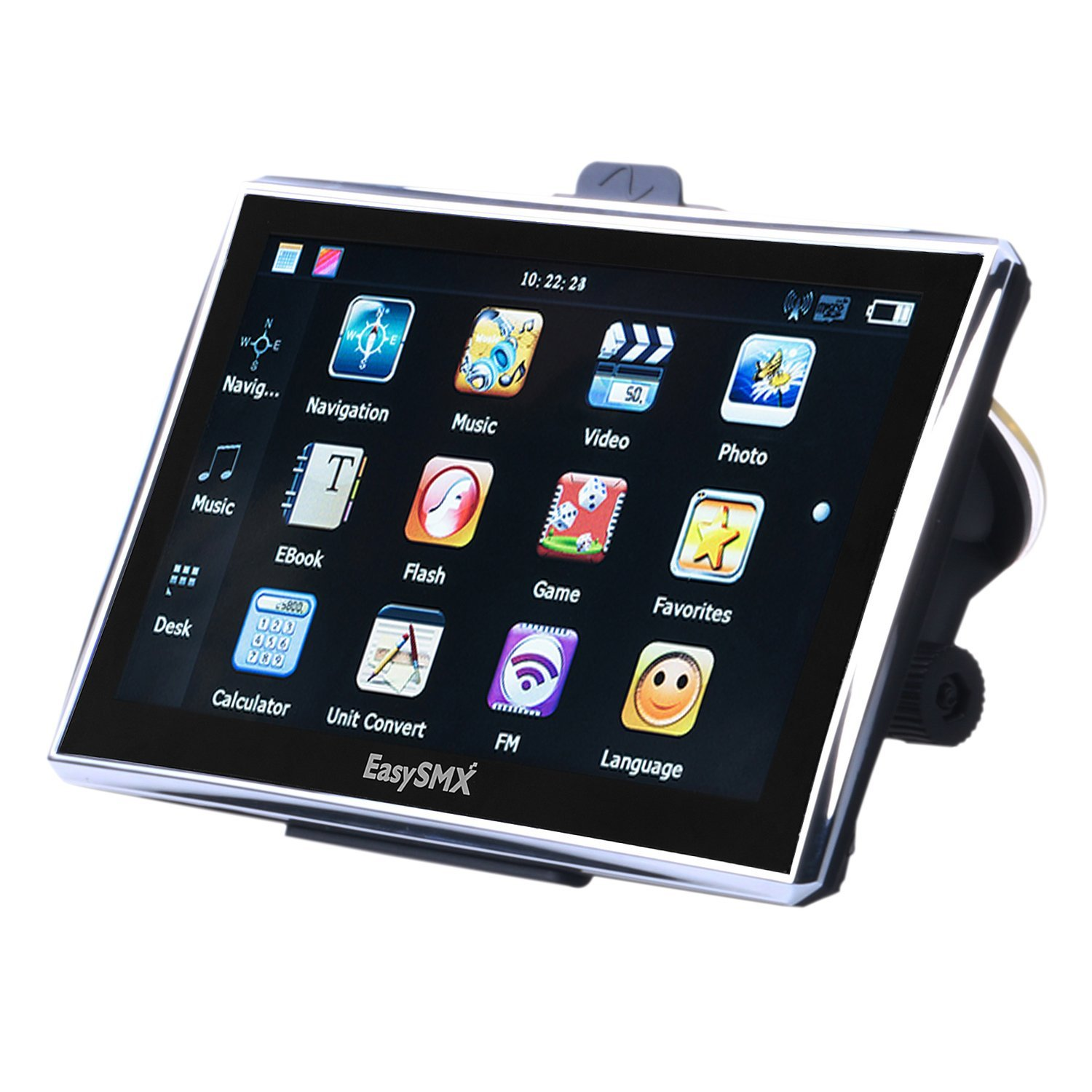 EasySMX 7 Inch GPS Navigator 128M-8GB 1500 mAh LCD Touch Screen Preloaded Free Maps Music/Movie Player Multi-language Compatible with Window XP