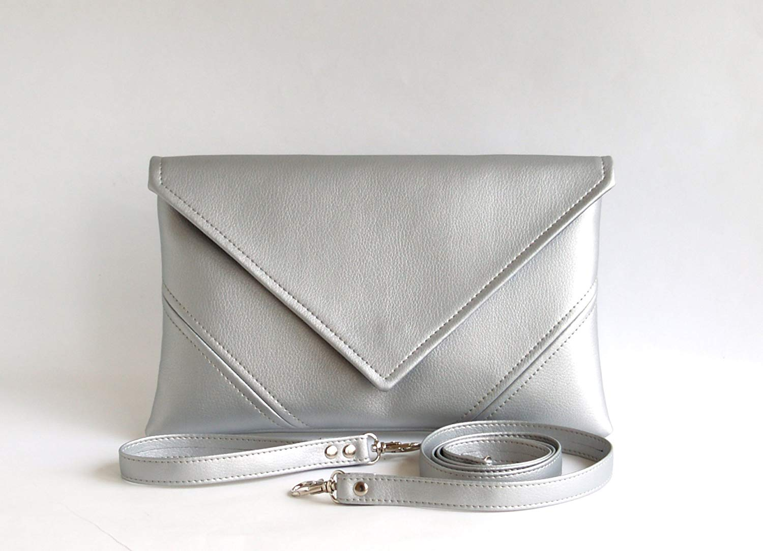Silver Clutch Bag Handmade Bridesmaid Clutch Purse Womens Gift For Her Vegan Leather Clutch Handbag Evening Clutch Wallet Silver Purse Vegan Handbag