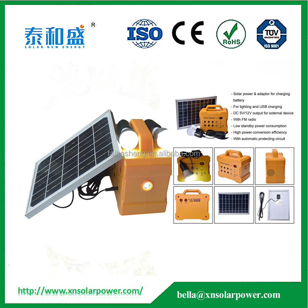 hot sale !Factory price mini solar lamp solar led light sytem with led bulb, phone charger and MP3