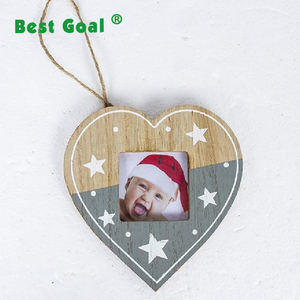Christmas wooden hanging picture frame ornaments