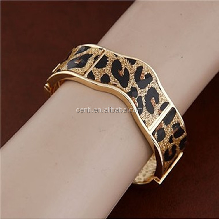 Leopard Pave Metal Bangle Leopard Cuff Bangle Woman Gold Bangle