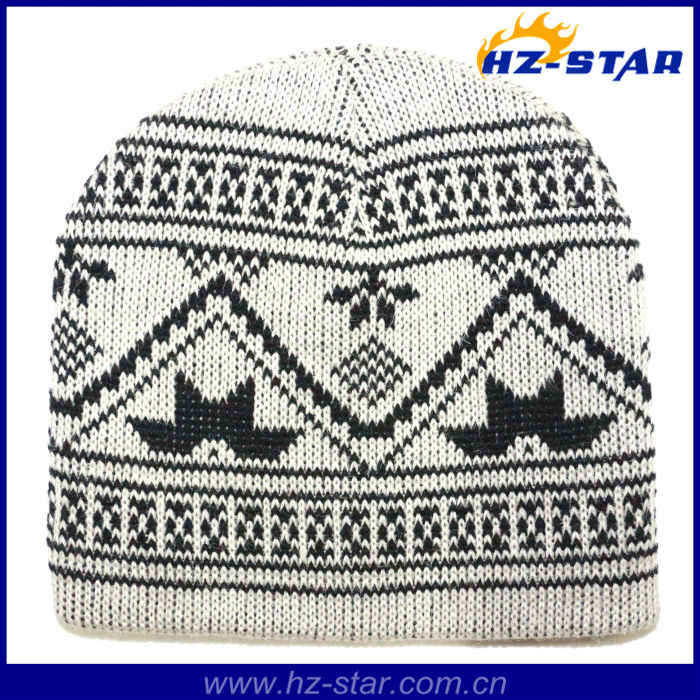 HZM-13698-4 newest warm acrylic man pattern fashion ivory knit fake fur hat for winter