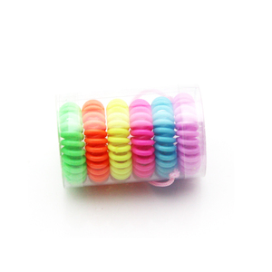 Colorful telephone wire spiral plastic hair tie for girls