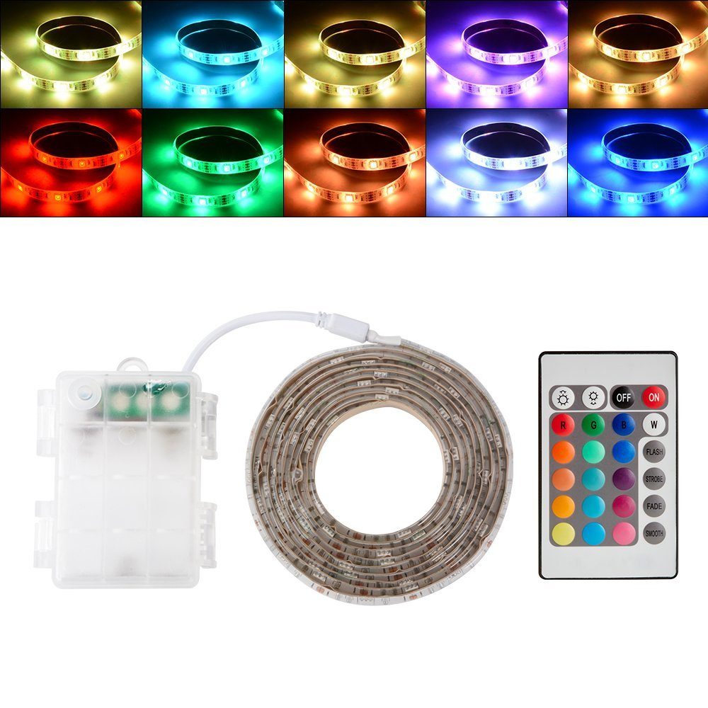 GOESWELL TV Backlight Kit Bias Lighting for TV RGB 5050 60Led//m Waterproof LED Strip Light with Mini Controlle for Holiday Tree Garden Weeding Indoor Outdoor