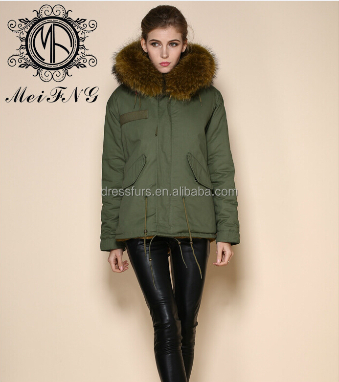 Wholesale fur parka winter parka with raccoon fur hooded trim from fur manufacturer