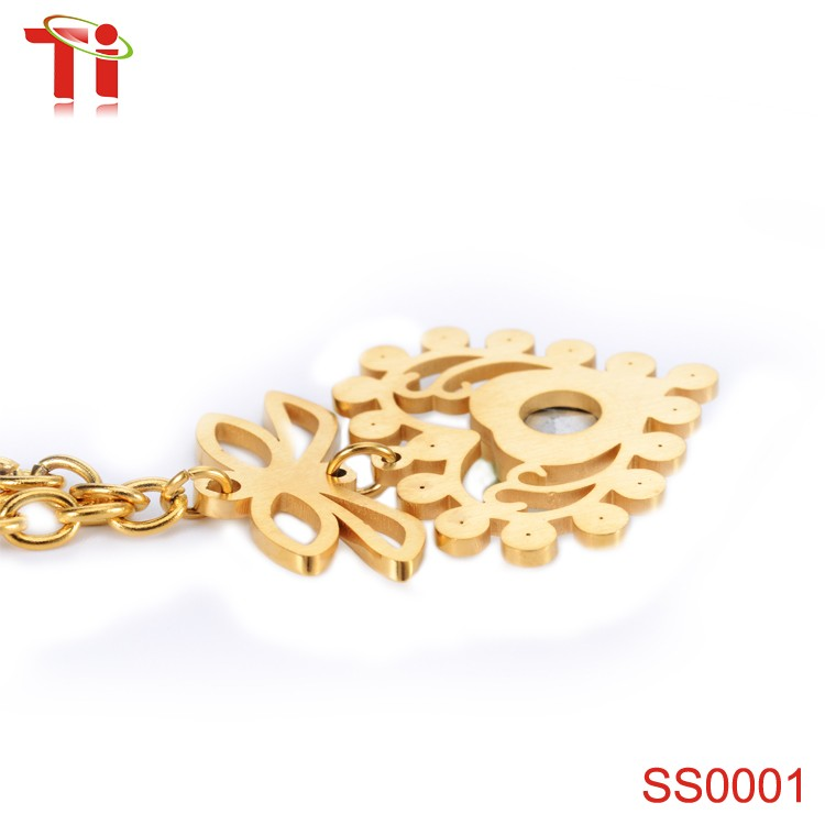 316l stainless steel fashion jewellery necklace, simple gold earring ...