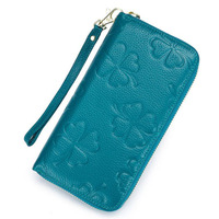 Dreamtop DTE408 trendy latest design zipper long style wallet flower pattern leather ladies wallet clutch