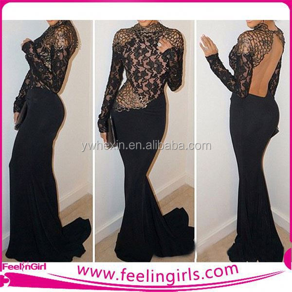 Latest design elegant lace top back less evening dress