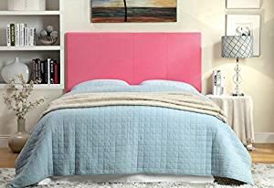 Winn Park II collection pink leatherette upholstered rectangular padded Full / Queen size headboard