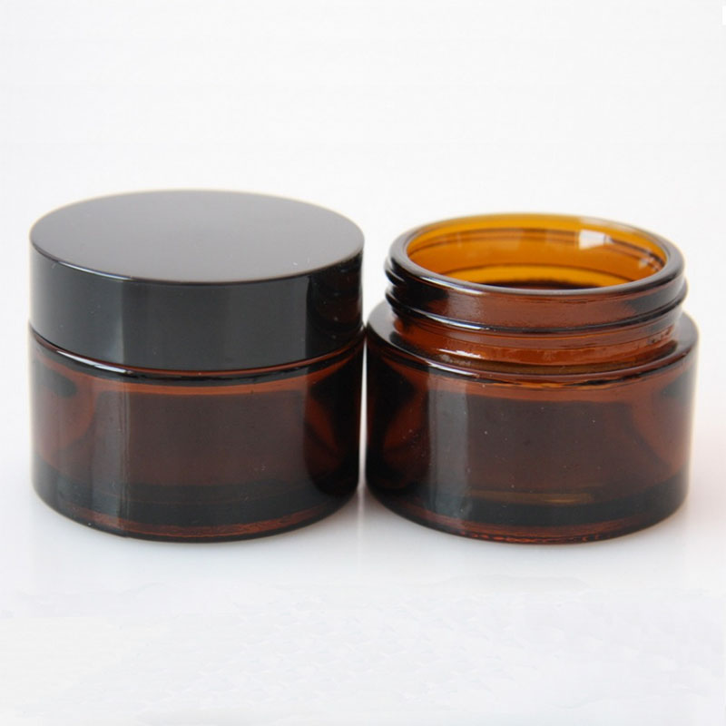 Amber frosted glass cream jars amber cosmetic jars with inner seal
