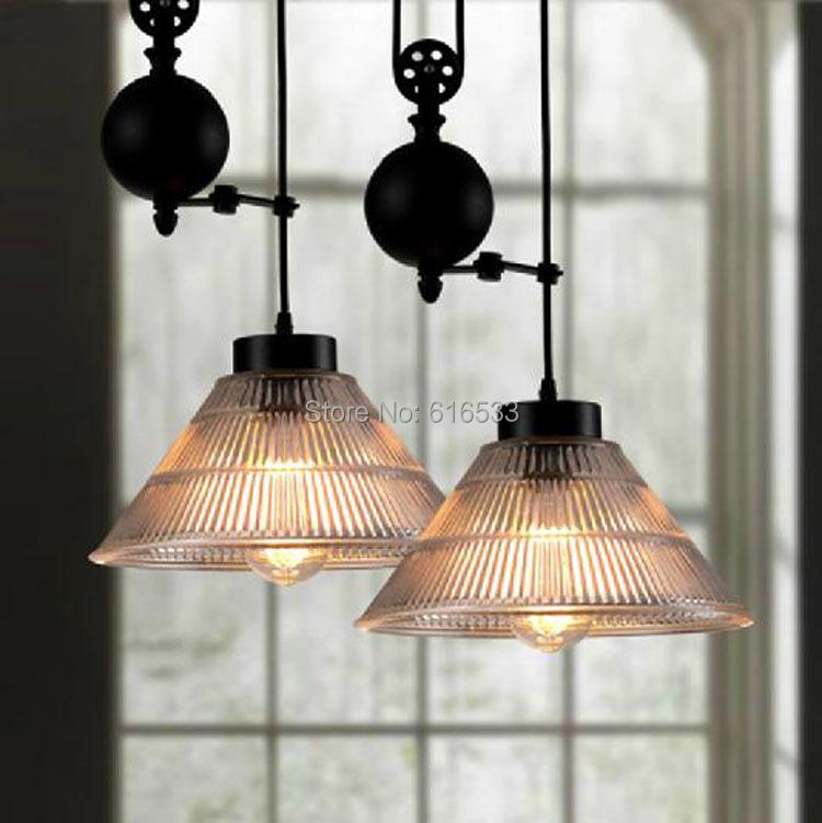 modern vintage american loft lustre pulley lifting industrial edison pendant lamp adjustable