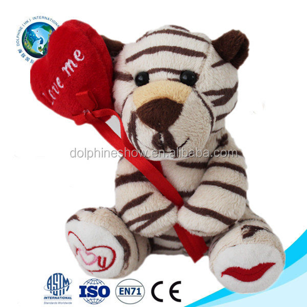 Hot selling products valentines romantic gift love you plush toy stuffed tiger with heart
