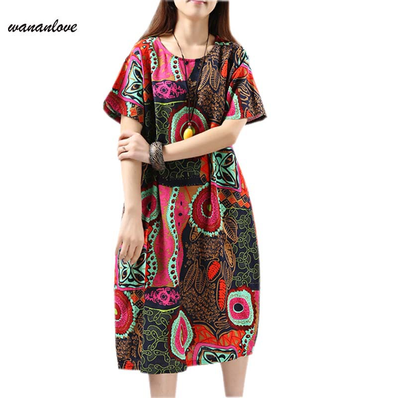 new fashion summer autumn style cotton linen plus size vintage print women casual loose long dress party vestido feminino 2015
