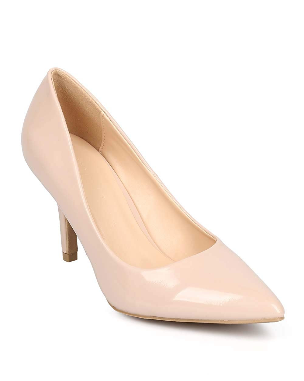 7b2e8301b979a Get Quotations · Women Patent Pointy Toe Single Sole Kitten Heel Pump DD78  - Natural