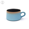 Private Label Modern sky blue Porcelain 260ml tea cup and saucer
