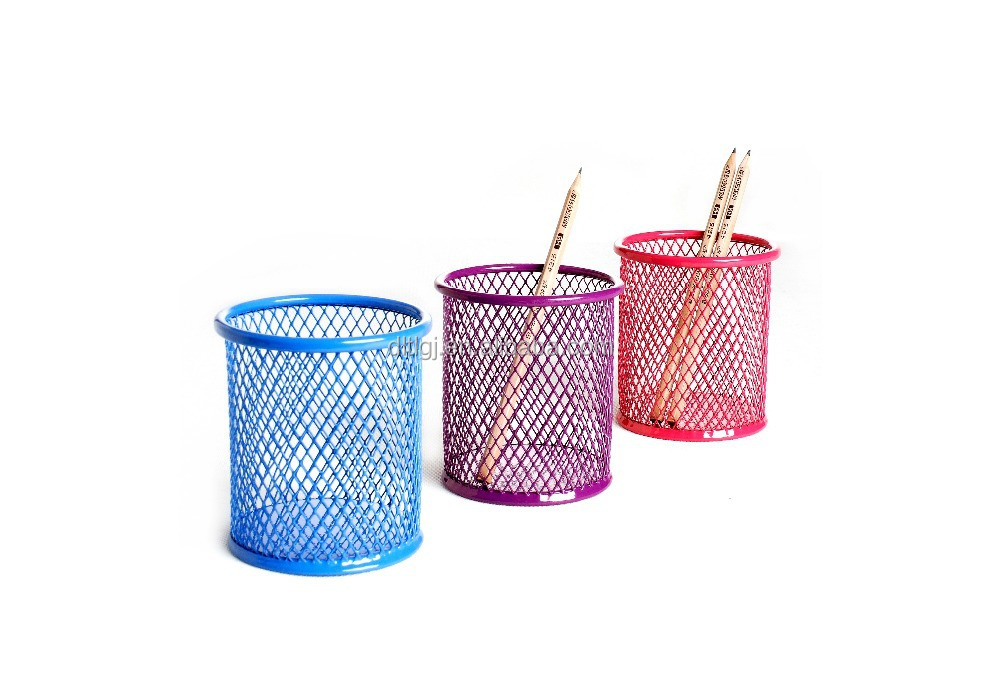 promotional gift metal mesh round pen/pencil holder/cup/pot B8802-01