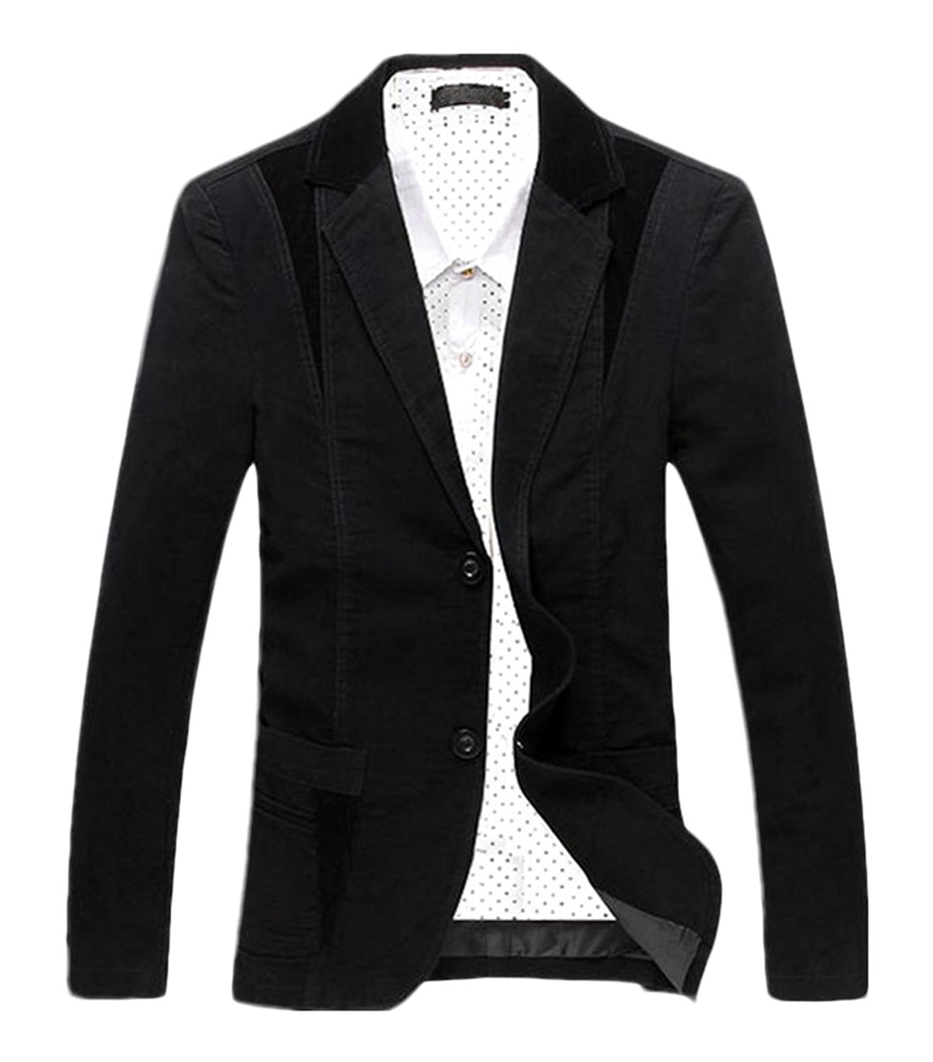 0e2407c4f Get Quotations · Chartou Men's Casual Western-Style Lightweight Slim  Two-Buttons Cotton Suit Blazers Jacket
