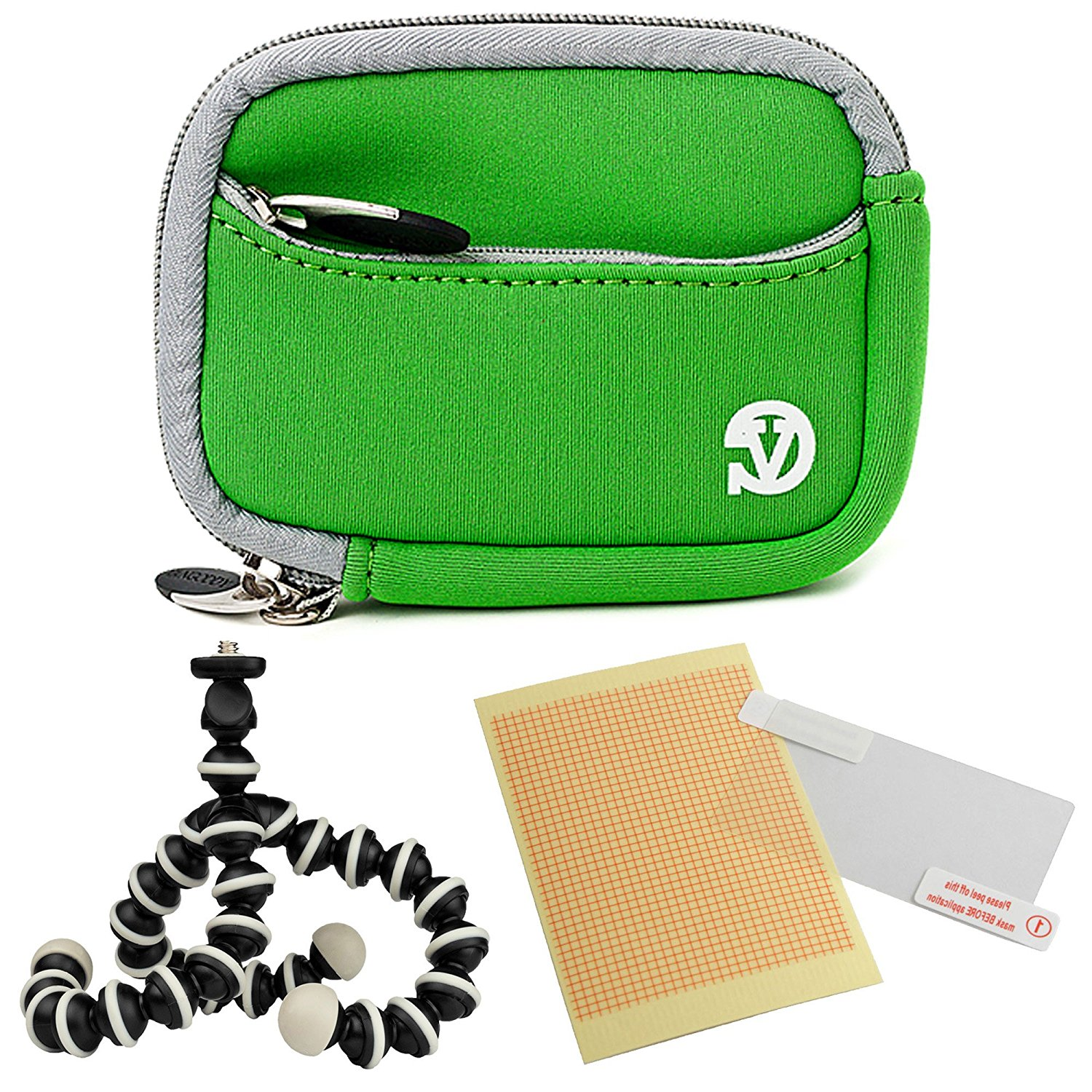 VanGoddy Mini Glove Sleeve Pouch Case for Panasonic Lumix DMC Series Digital Cameras (Green Gray Trim) + Screen Protector + Mini Tripod Stand