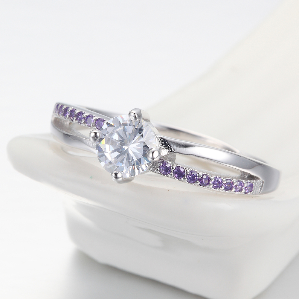 Women engagement silver jewelry fashion CZ adjustable rings