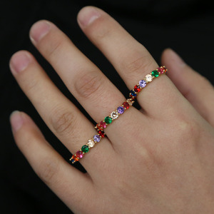 2 3 4 5 6 round cubic zirconia rainbow colorful cz Gold plated engagement band cz eternity ring