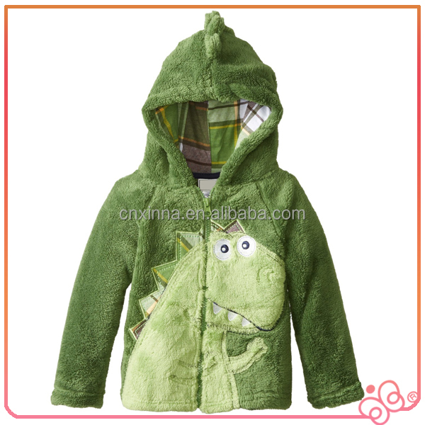 Factory price Coral velet green dino top baby jacket