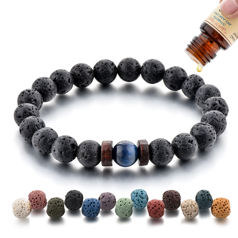 8mm <strong>Red</strong> Green Yellow Blue <strong>Tiger</strong> <strong>Eye</strong> Charm <strong>Bracelet</strong> Men Women Black Lava Volcanic Stone Beads <strong>Bracelet</strong> Elegant Aromatherapy