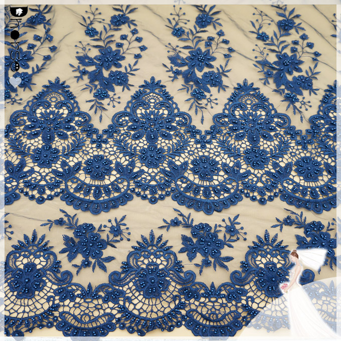 New arrival navy color hand beaded water soluble embroidery lace/ lace embroidery on mesh DH-BF863