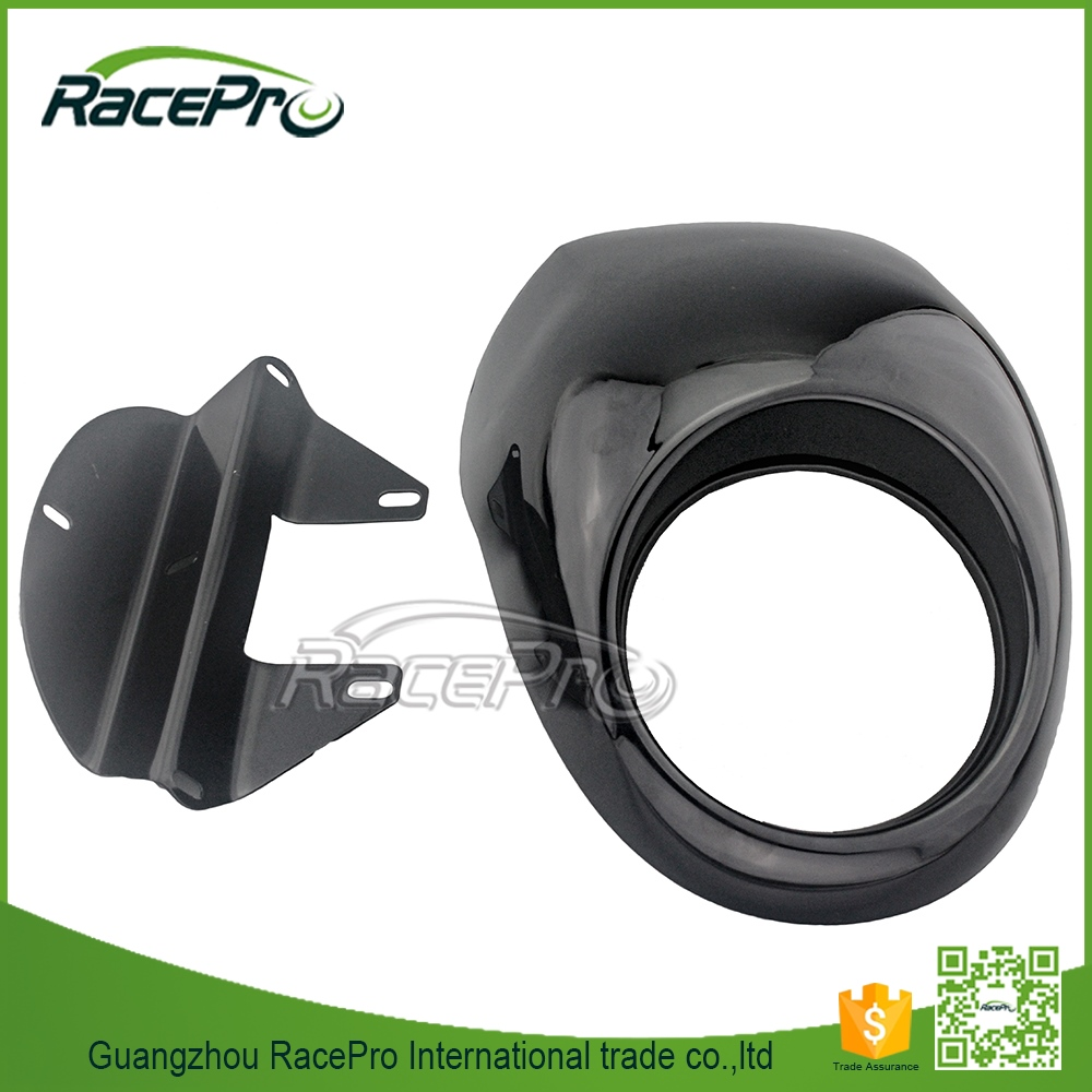 Glossy Black Cafe Racing Front Headlight Fairing For Harley Sportster Dyna FX XL 883 1200