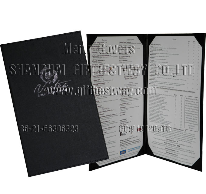 Black Double Menu Covers With 2 Views Buy Sample Menu Card Sample Menu Card Menu Holder Product On Alibaba Com
