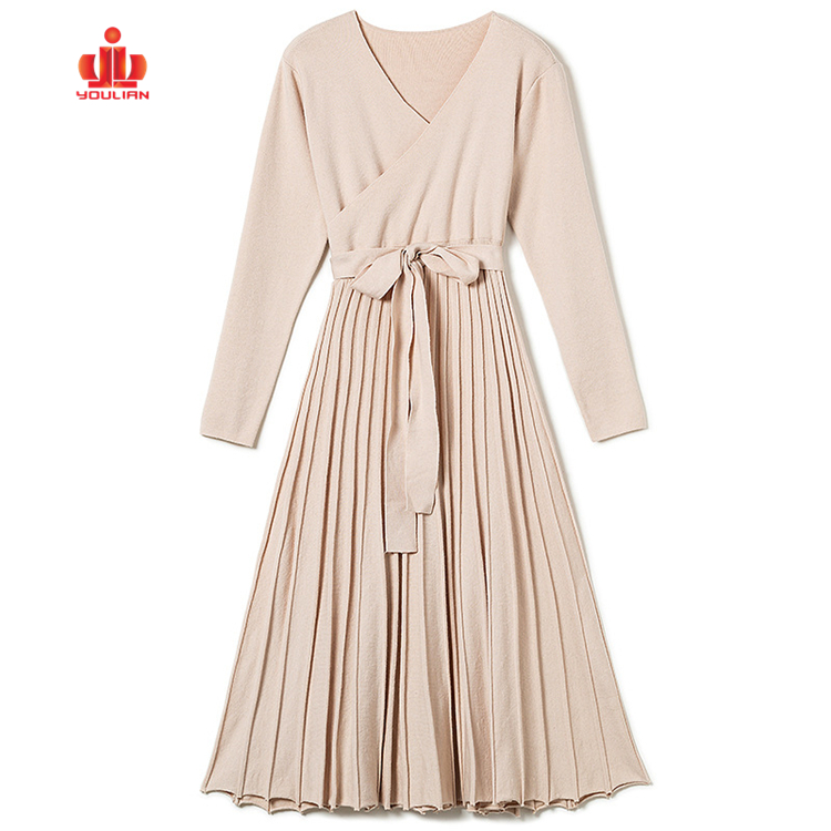 Rue Mode Tricot Robe À Manches Longues Femmes Pull Robe