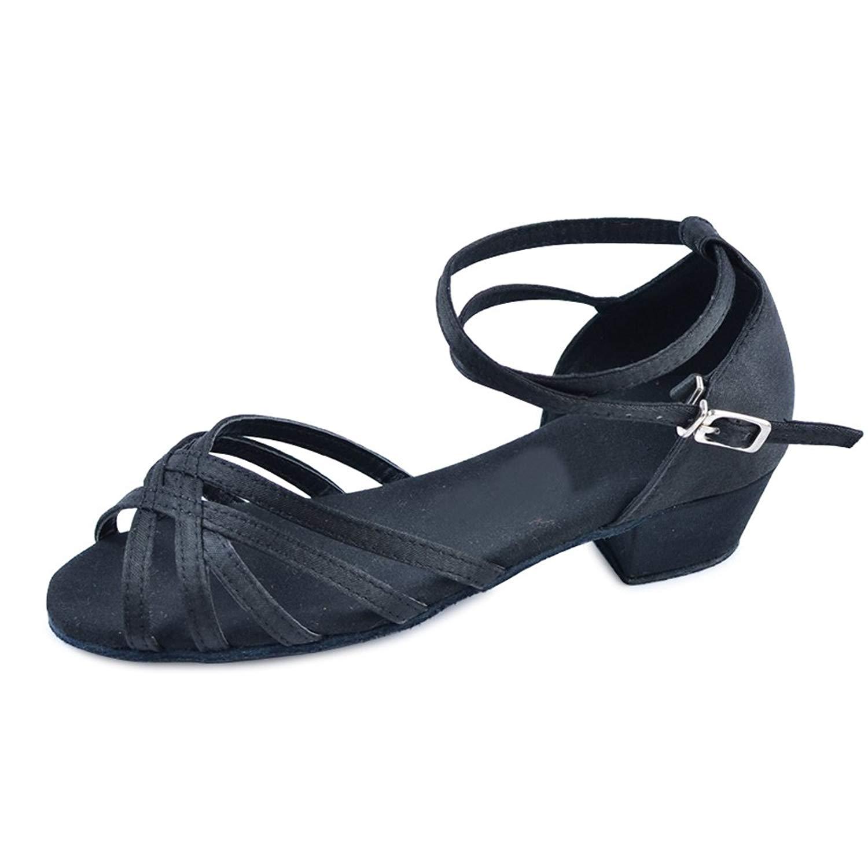 Girls' Peep Toe Weaved Tied Straps Latin Ballroom Dance Shoes( Little/Big Kid)