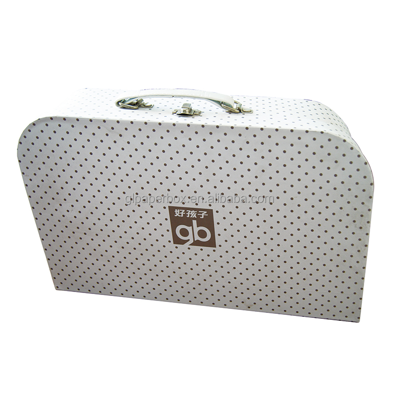 custom order suitcase style hard cardboard paper spotted baby gift box